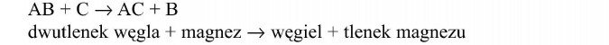 Reakcja wymiany. Dwutlenek węgla + magnez = węgiel + tlenek magnezu.