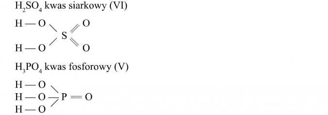 Wzory strukturalne kwasów. Kwas siarkowy. Kwas fosforowy.