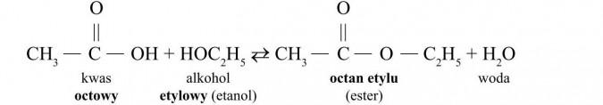 Estry. Kwas octowy, alkohol etylowy (etanol), octan etylu (ester), woda.